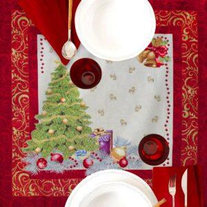 Centrotavola di Natale Abete 100 x 100 CM Maestri Cotonieri Home-0