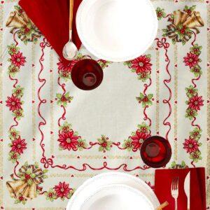 Centrotavola di Natale Agrifoglio 100 x 100 CM Maestri Cotonieri Home-0