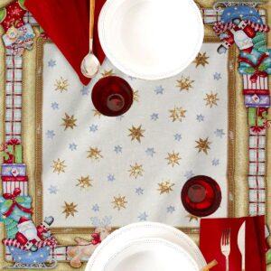 Centrotavola di Natale Babbo Natale 100 x 100 CM Maestri Cotonieri Home-0