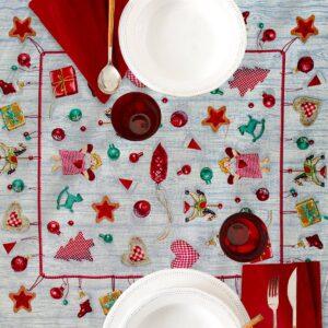 Centrotavola di Natale Magici Doni 100 x 100 CM Maestri Cotonieri Home-0